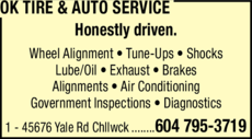 Print Ad of Ok Tire & Auto Service