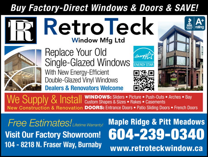Yellow Pages Ad of Retroteck Window Mfg Ltd