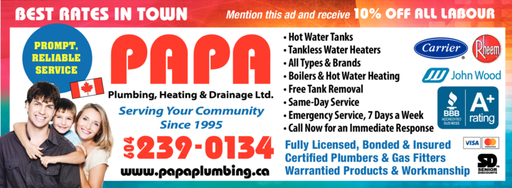 Yellow Pages Ad of Papa Plumbing Heating & Drainage Ltd