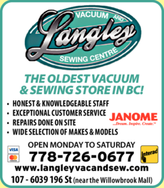 Print Ad of Langley Vacuum & Sewing Centre