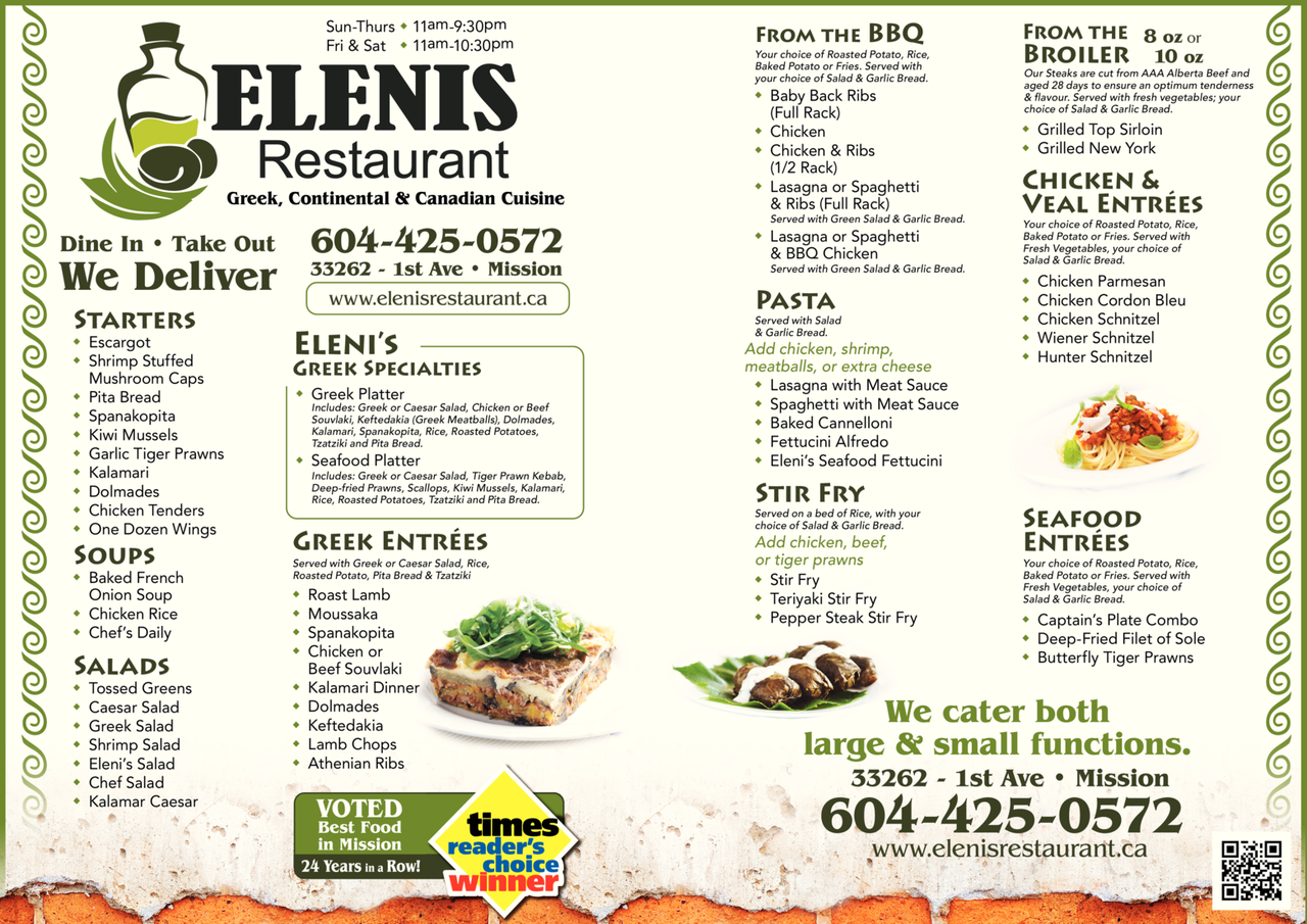 Yellow Pages Ad of Elenis Restaurant