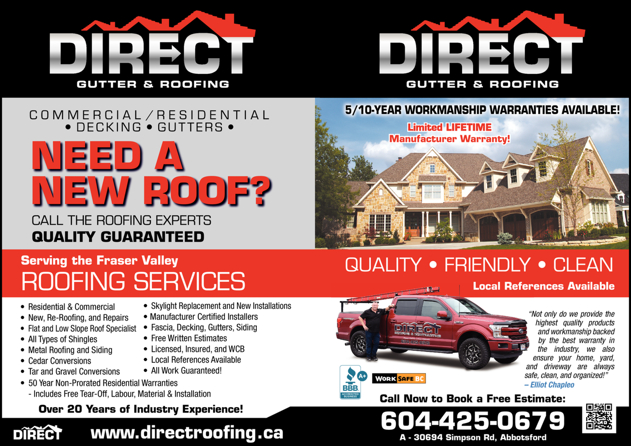 Yellow Pages Ad of Direct Gutter & Roofing