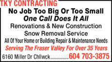 Print Ad of Tky Contracting