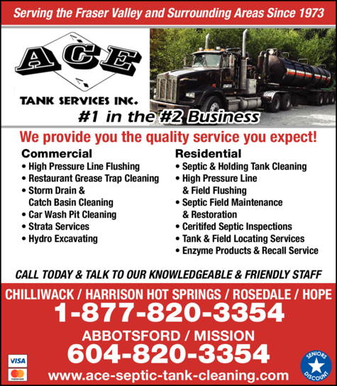 Print Ad of Ace Tank Services Inc