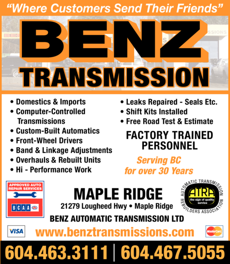 Yellow Pages Ad of Benz Automatic Transmission