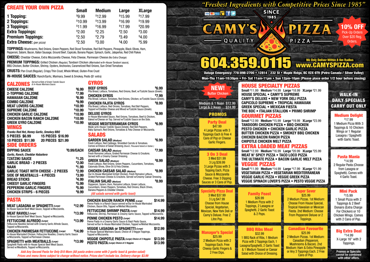 Yellow Pages Ad of Camy's Pizza