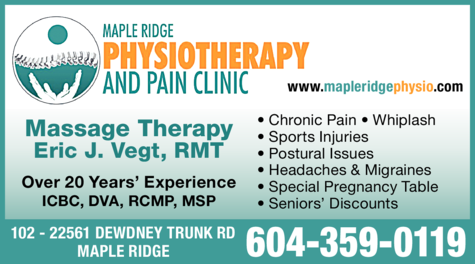 Yellow Pages Ad of Maple Ridge Physiotherapy & Pain Clinic Inc