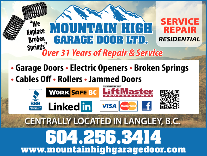 Yellow Pages Ad of Mountain High Garage Door Ltd