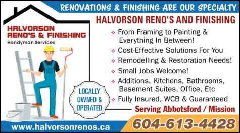 Print Ad of Halvorson Reno's And Finishing
