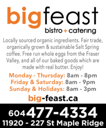 Yellow Pages Ad of Big Feast Bistro & Catering