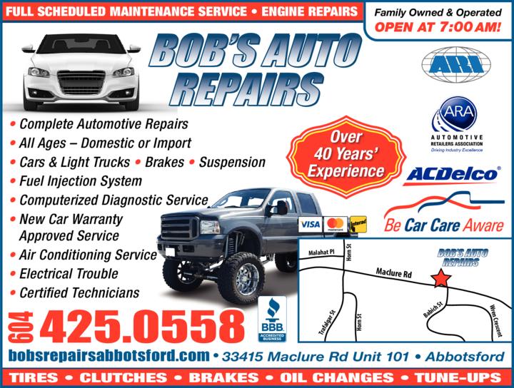 Print Ad of Bob's Auto Repairs