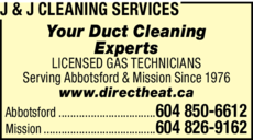 Print Ad of J & J Cleaning Services