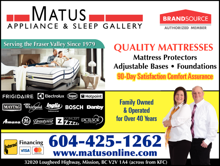 Yellow Pages Ad of Matus Appliance & Sleep Gallery