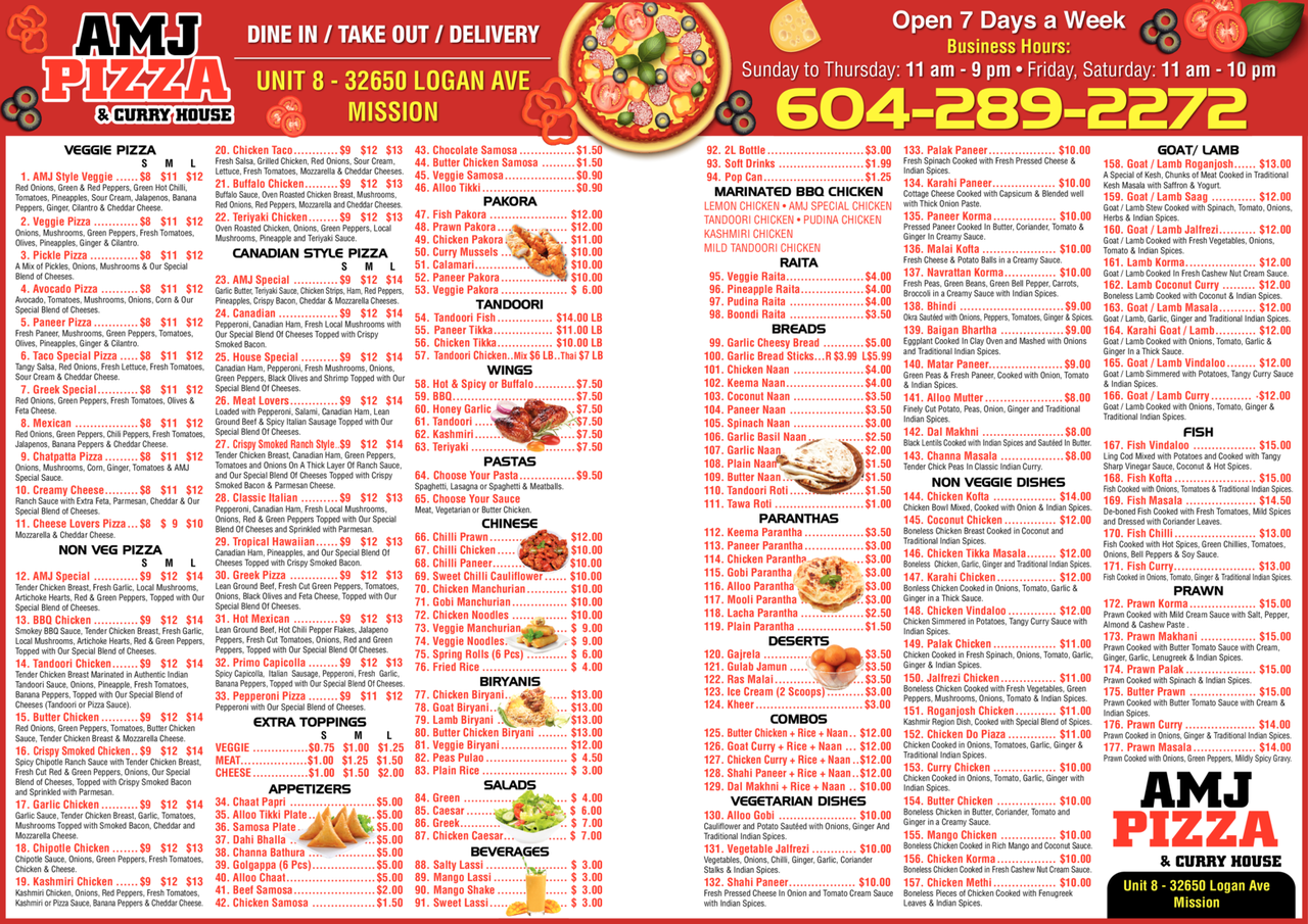 Yellow Pages Ad of Amj Pizza & Curry House