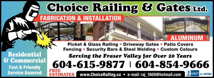 Print Ad of Choice Railing & Gates Ltd
