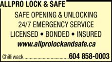 Print Ad of Allpro Lock & Safe