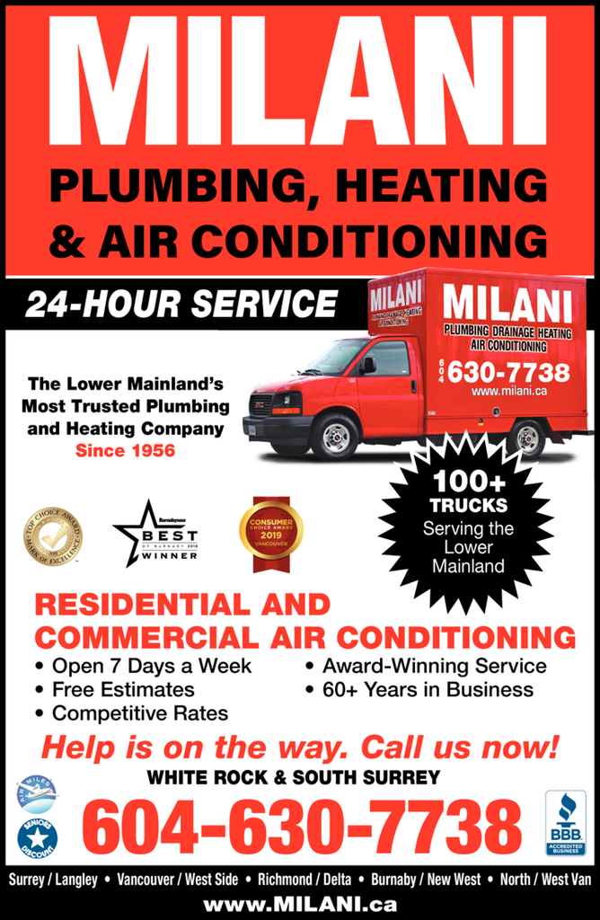 Yellow Pages Ad of Milani Plumbing Heating & Air Conditioning