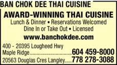 Yellow Pages Ad of Ban Chok Dee Thai Cuisine