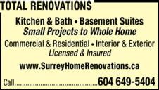 Print Ad of Total Renovations