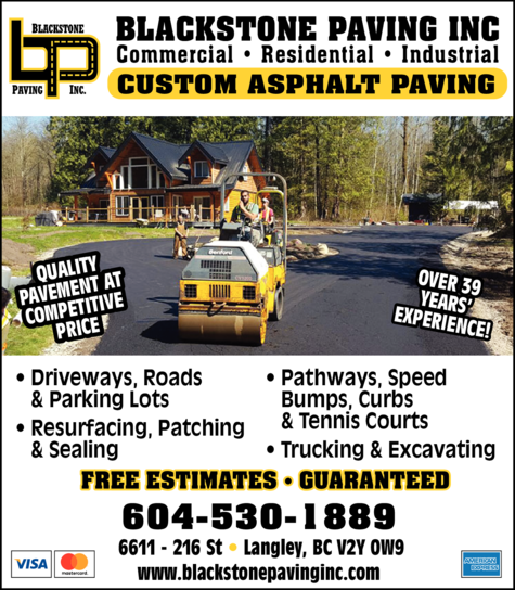 Yellow Pages Ad of Blackstone Paving Inc