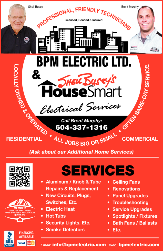 Yellow Pages Ad of Bpm & Housesmart Electric