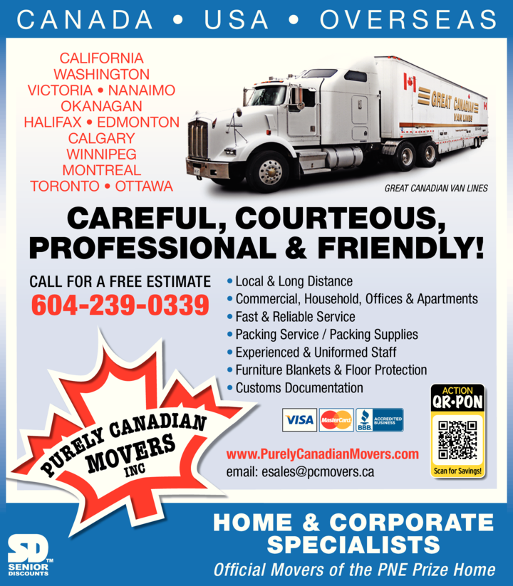 Print Ad of Purely Canadian Movers Inc / Agents For Great Canadian Van Lines