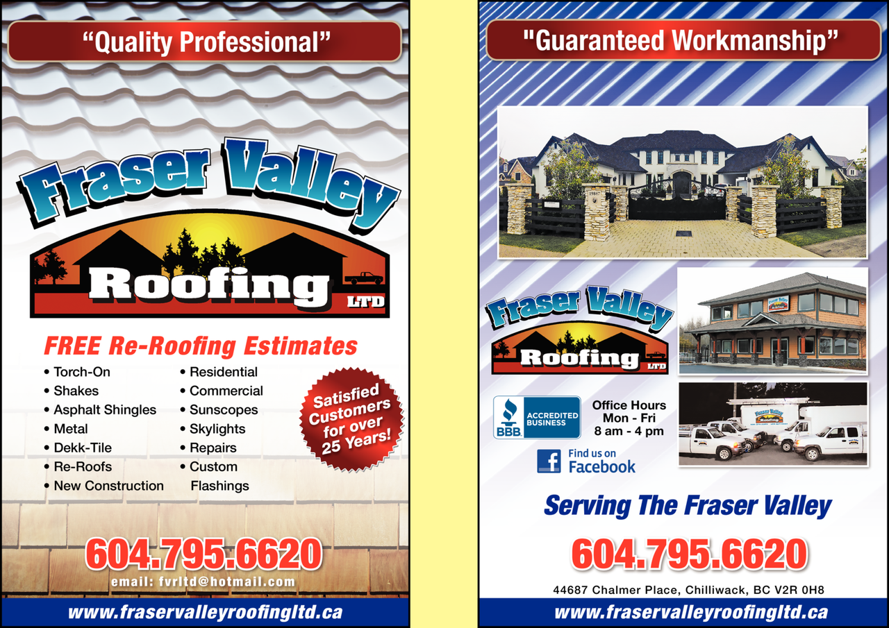 Yellow Pages Ad of Fraser Valley Roofing Ltd