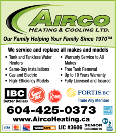 Yellow Pages Ad of Airco Heating & Cooling Ltd