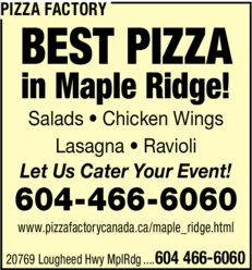Yellow Pages Ad of Pizza Factory