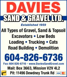 Print Ad of Davies Sand & Gravel Ltd