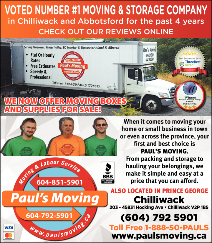 Print Ad of Paul's Moving & Labour Services Ltd
